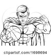 Poster, Art Print Of Superhero Holding Basketball Ball Sports Mascot