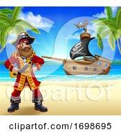 Pirate Captain Beach Ship Cartoon Background