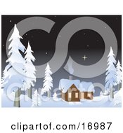 Private Log Cabin In The Woods With Smoke Coming Out Of The Chimney And Rising Towards The Starry Night Sky Surrounded By Snow Flocked Evergreen Trees Clipart Illustration