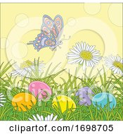 Poster, Art Print Of Spring Time Butterfly And Flowers With Easter Eggs
