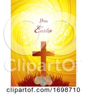 Poster, Art Print Of Easter Cross And Eggs On Abstract Background