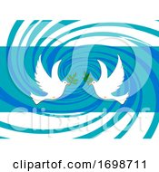 Poster, Art Print Of Easter Peace Doves On Abstract Swirl Background