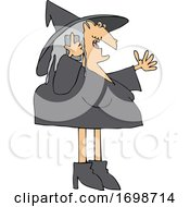 Cartoon Halloween Witch Talking On A Cell Phone