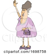 Cartoon Chubby Woman Shouting And Waving