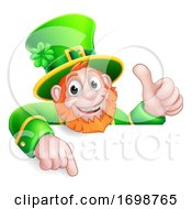 Leprechaun St Patricks Day Cartoon Pointing Sign