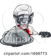 Wolf Chef Mascot Sign Cartoon Character