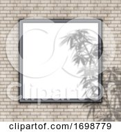 3D Blank Picture Frame On Brick Wall With Plant Shadow Overlay