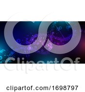 Medical Banner With Abstract Cells And DNA Strand