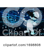 3D Digital Technology Background With Figure Wearing Virtual Reality Headset