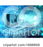 3D Technical Conceptual Background Depicting Computer Security