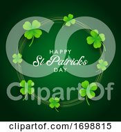 St Patricks Day Background With Clover And Gold Circles by KJ Pargeter