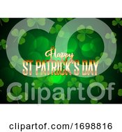 St Patricks Day Background With Clover And Gold Lettering