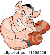 Tough Muscular Boxer Pig For A BBQ Competition Design