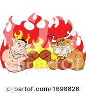 Poster, Art Print Of Tough Muscular Boxer Bull And Pig Over Flames For A Bbq Competition Design