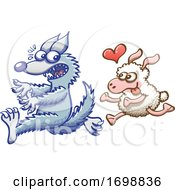 Poster, Art Print Of Cartoon Sheep In Love Chasing A Scared Wolf