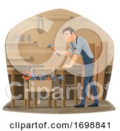 Poster, Art Print Of Carpenter Hammering