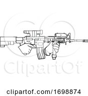 Black And White Hands Holding An Automatic Carbine Rifle by LaffToon