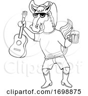 Cartoon Black And White Cowboy Horse Holding A Beer And Guitar