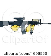 Hands Holding An Automatic Carbine Rifle by LaffToon