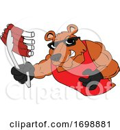 Poster, Art Print Of Muscular Bear Holding Bbw Ribs With Tongs