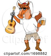 Cartoon Cowboy Horse Holding A Beer And Guitar