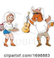 Poster, Art Print Of Cartoon Cowboy Horse Holding A Beer And Guitar And Girl With Bbq Food