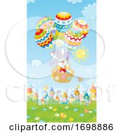 Poster, Art Print Of Bunny Rabbit In An Easter Egg Hot Air Balloon