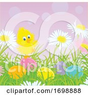 Poster, Art Print Of Chick And Easter Eggs In Grass