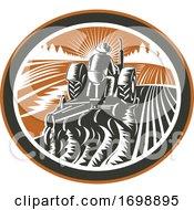 Farmer Driving Tractor Plowing Field Retro