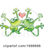 Poster, Art Print Of Frogs In Love Performing An Acrobatic Kiss