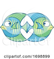 Poster, Art Print Of Cartoon Fish In Love And Conflict