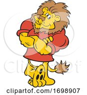 Cartoon Confident Lion Mascot Leaning