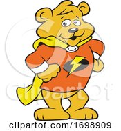 Cartoon Super Hero Bear Cub Mascot