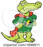 Cartoon Super Hero Alligator Mascot