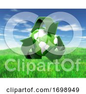 Poster, Art Print Of 3d Globe With Recycling Symbol On Grass And Sky Landscape