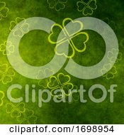 Grunge St Patricks Day Background With Clover by KJ Pargeter