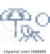 Poster, Art Print Of Deck Beach Chair Pixel 8 Bit Video Game Art Icon