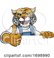 Poster, Art Print Of Wildcat Mascot Plumber Mechanic Handyman Worker