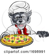 Wolf Pizza Chef Cartoon Restaurant Mascot Sign