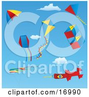 Group Of Different Kites Including Box Diamond Triangle Windsocks And One Kite Resembling A Rocket Flying In The Sky Clipart Illustration by Rasmussen Images
