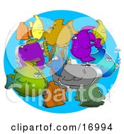 Diverse Group Of Different Colored 3d Fish Schooling Together With Bubbles Clipart Illustration