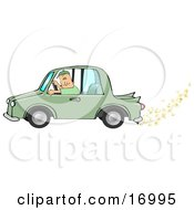 Caucasian Man Driving A Green Car With Popcorn Popping Out Of The Muffler Symbolizing A Biodiesel Car
