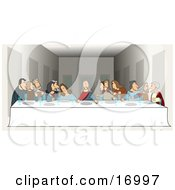 Poster, Art Print Of Parody Of The Last Supper By Leonardo Da Vinci Showing Jesus And His Twelve Apostles At A Long Dinner Table With Plates And Glasses In Front Of Them During The Lords Supper