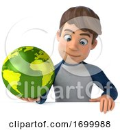 Poster, Art Print Of 3d White Boy On A White Background