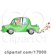 Caucasian Driving A Green Environmentally Friendly Car With Colorful Flowers Flowing Out Of The Muffler