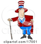 Uncle Sam In A Red And White Striped Hat With Stars Red Jacket And Blue Pants Standing With A Walking Cane And Holding One Hand On His Hip
