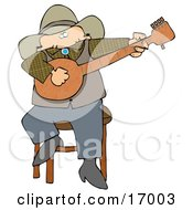 Caucasian Male Cowboy Sitting On A Stool And Playing A Banjo While Entertaining People During An Event Clipart Illustration Image