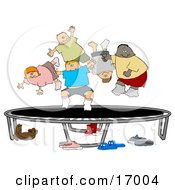 Happy Multi Ethnic And Multi Gender Children Jumping On A Trampoline Together While Playing Clipart Illustration Image