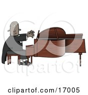 Black African American Pianist Sitting On A Bench And Playing A Grand Piano During A Concert