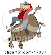 Male Caucasian Cowboy Holding Onto His Hat While Riding A Bucking Bronco Bull During A Rodeo Clipart Illustration Image